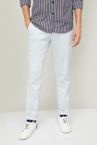 COLORPLUS Women Textured Super Slim Fit Trousers