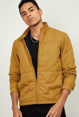 FAME FOREVER Men Solid Zip-Front Jacket with Insert Pockets