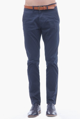 SELECTED Men Solid Slim Tapered Chinos