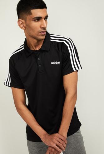 ADIDAS Men Striped Regular Fit Polo T-shirt