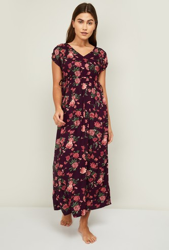 GINGER Women Floral Print Cap Sleeves Night Gown