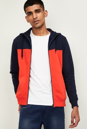 PEPE JEANS Men Printed Hooded Sweatshirt with Zip-Closure