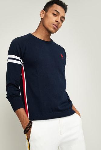 U.S. POLO ASSN. Men Textured Full Sleeves Sweater