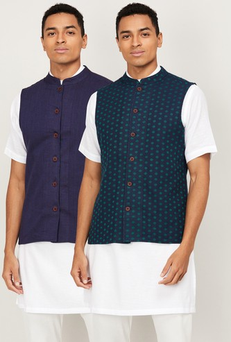 MELANGE Men Printed Sleeveless Nehru Jacket