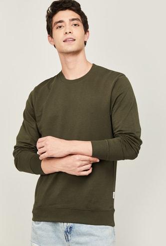 FAME FOREVER Men Solid Full Sleeves Sweatshirt