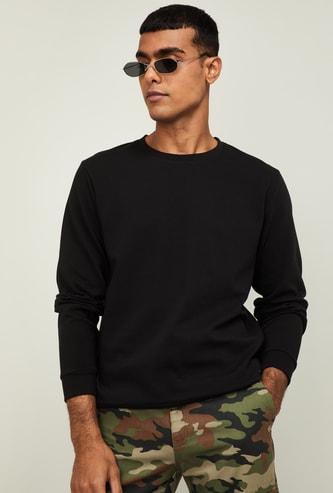 FORCA Men Solid Full Sleeves Sweatshirt