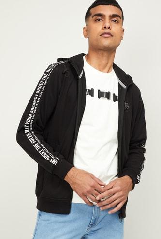 STATUS QUO Men Typographic Print Zip-Front Hoodie