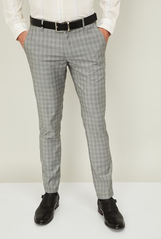 LOUIS PHILIPPE Men Checked Slim Fit Formal Trousers