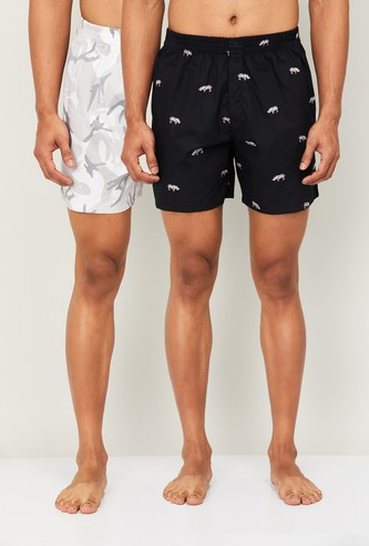 FAME FOREVER Men Printed Elasticated Boxers - Set Of 2