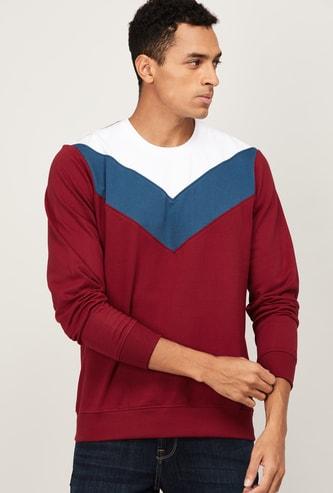 PARX Men Colourblocked Crew Neck Sweatshirt