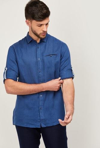 CELIO Men Solid Full Sleeves Regular Fit Casual Shirt