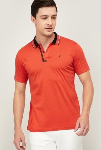 ALLEN SOLLY Men Solid Regular Fit Polo T-shirt