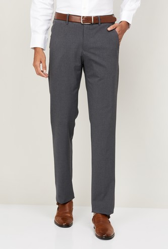 LOUIS PHILIPPE Men Solid Slim Tapered Fit Formal Trousers