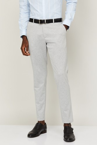 LOUIS PHILIPPE Men Solid Skinny Tapered Fit Formal Trousers