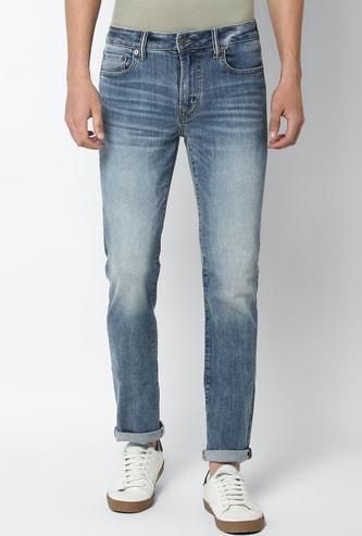 AMERICAN EAGLE Men Stonewashed Slim Straight Jeans