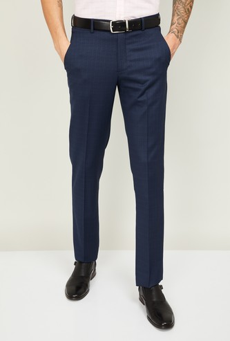 LOUIS PHILIPPE Men Textured Slim Tapered Fit Formal Trousers