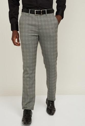 LOUIS PHILIPPE Men Textured Slim Tapered Formal Trouser