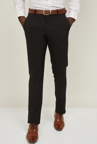 LOUIS PHILIPPE Men Solid Slim Tapered Fit Trousers
