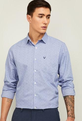 ALLEN SOLLY Men Textured Slim Fit Casual Shirt