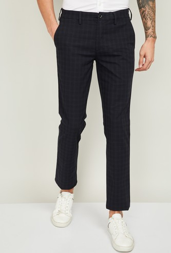 COLORPLUS Men Checked Super Slim Fit Casual Trousers