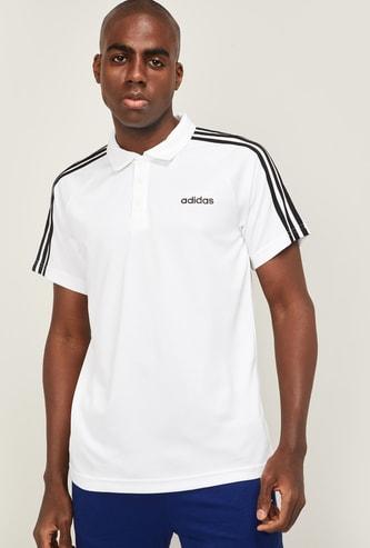 ADIDAS Men Striped Slim Fit Polo T-shirt