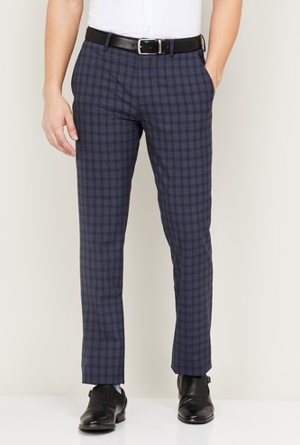 LOUIS PHILIPPE Men Checked Formal Trousers