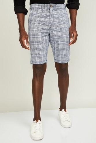 T-BASE Men Checked Regular Fit City Shorts