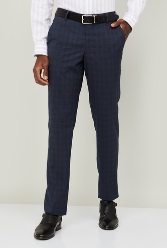 LOUIS PHILIPPE Men Checked Slim Tapered Fit Formal Trousers