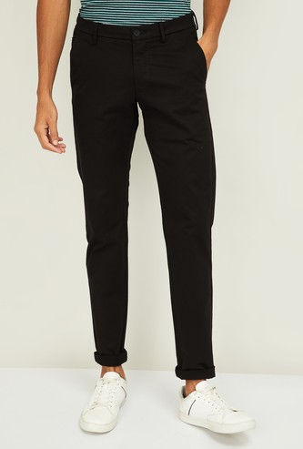ALLEN SOLLY Men Solid Super Slim Fit Casual Trousers
