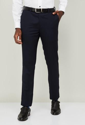 ARROW Men Textured Slim Straight Formal Trousers