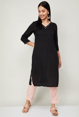 MELANGE Women Embellished Woven Straight Kurta