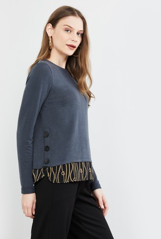 MAX Solid Full Sleeves Knit Top