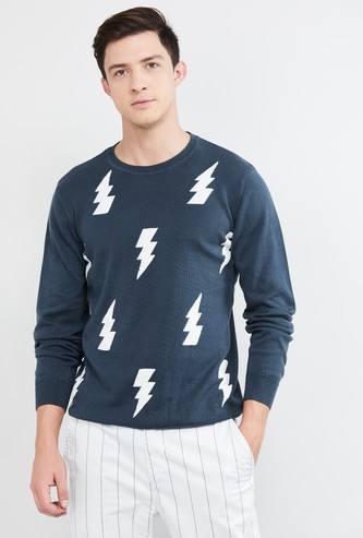 MAX Jacquard Patterned Crew Neck Sweater