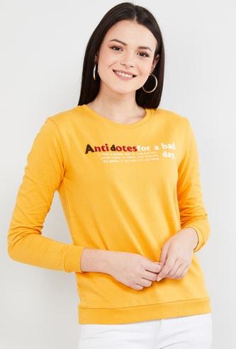MAX Typographic Print Round Neck Sweatshirt