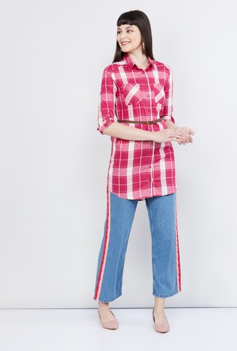 MAX Checked Three-quarter Sleeves Tunic