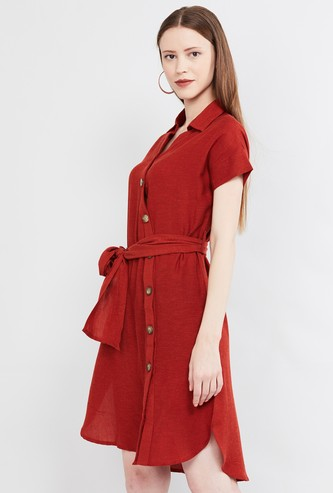 MAX Solid A-line Dress with Asymmetrical Placket
