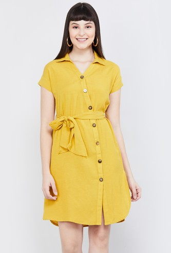 MAX Solid Shirt Dress with Belt
