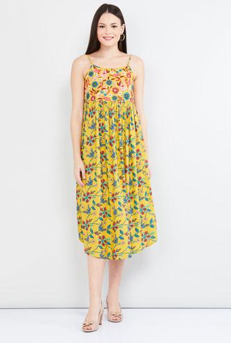 MAX Printed Empire-Line Spaghetti Strap Midi Dress