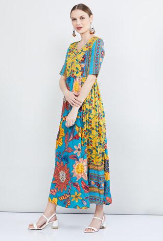 MAX Printed Short Sleeves Maxi Dress