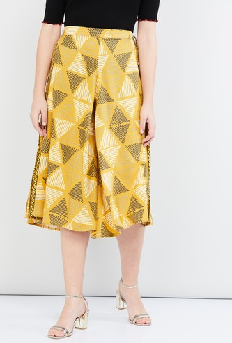 MAX Printed Tie-Up Waist Culottes