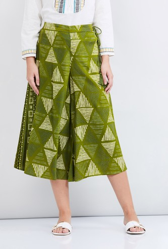 MAX Printed Culottes with Tassel Tie-Up