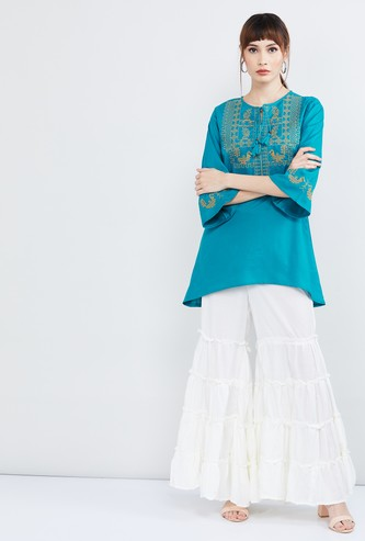 MAX Bell Sleeves Embroidered Tunic