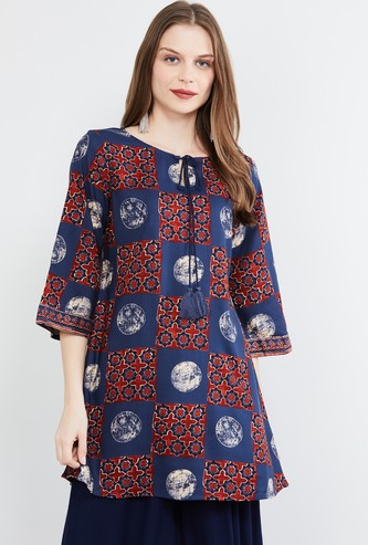 MAX Printed Tunic with Tie-Up Neckline