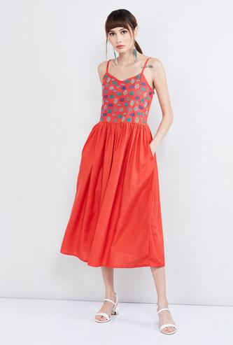 MAX Embroidered Spaghetti Strap Midi Dress