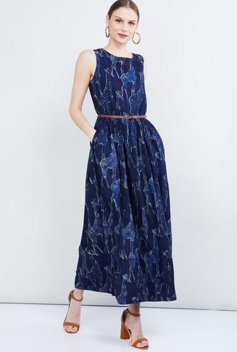 MAX Giraffe Print Maxi Dress with Detachable Belt