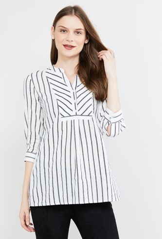 MAX Striped Notched Neck Tunic