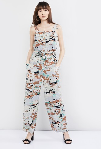 MAX Camo Print Jumpsuit with Tie-Up Detail