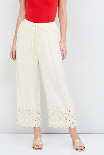 MAX Schiffli Embroidery Ankle-Length Palazzo Pants