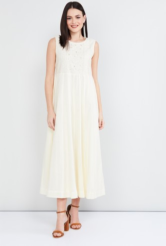 MAX Sequinned Embroidered Midi Dress