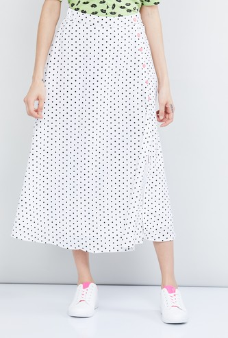 MAX Polka-Dot Print Midi Skirt